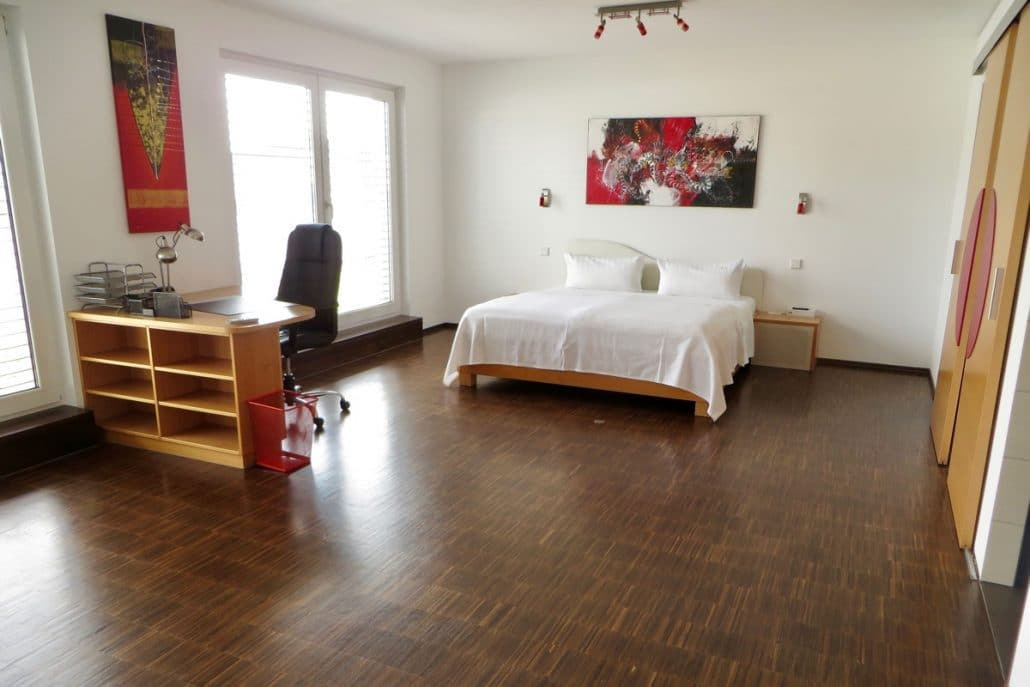 King-size bed and desk